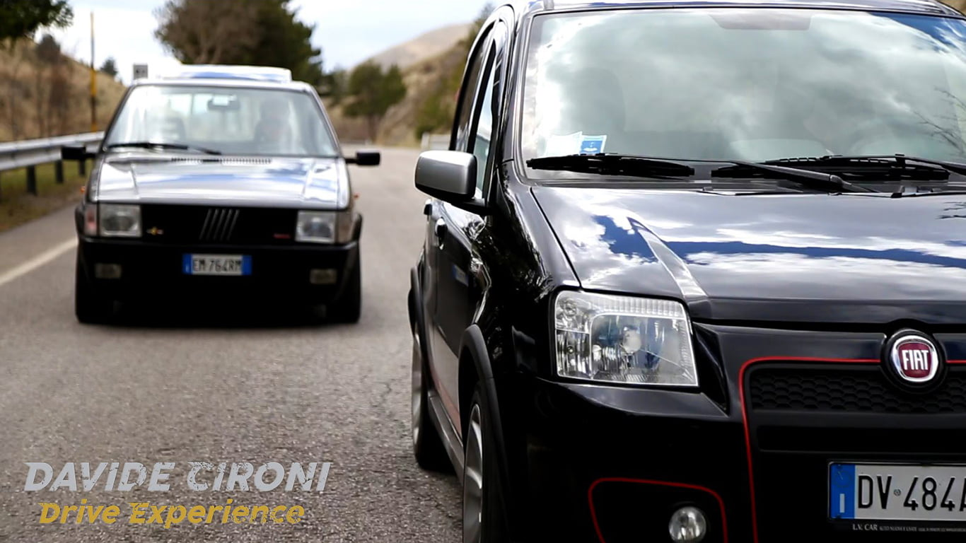 fiat panda 100 hp vs uno turbo video test davide cironi. Black Bedroom Furniture Sets. Home Design Ideas