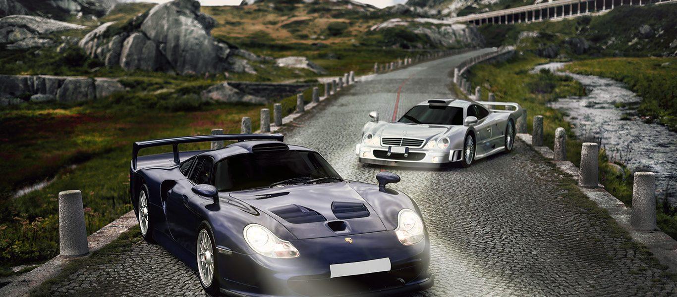 Mercedes Benz CLK GTR: inseguendo una Porsche 996 GT1 sulle Alpi